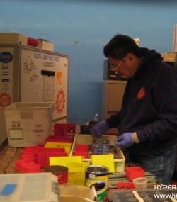 Lyman organizing the bolts