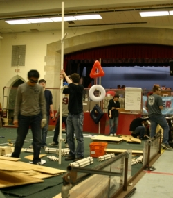 Students constructing the new tower